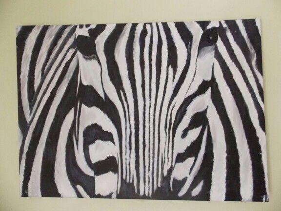 Ekim 2014 yağlı boya zebra siyah beyaz