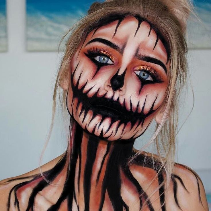jack o lantern (or jackie lantern) halloween makeup | who wouldn't want to be a creepy pumpkin? #Costumes