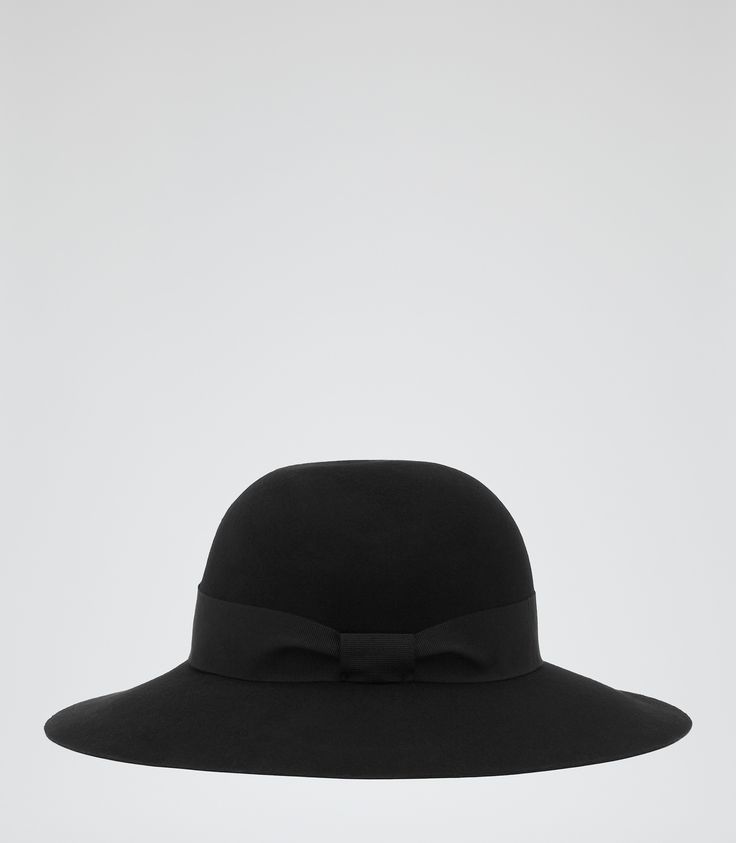 Womens Black Wool Floppy Hat - Reiss Andrea