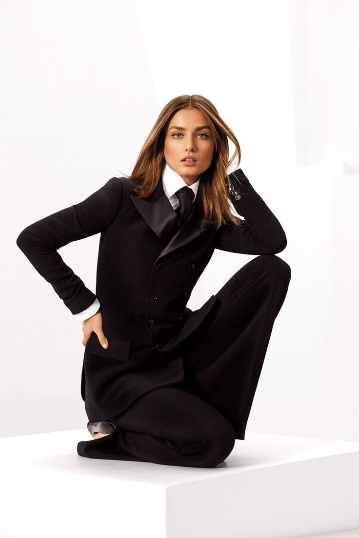 """I always thought a woman in a tuxedo was sexier than a girl in a gown"" - Ralph Lauren:"
