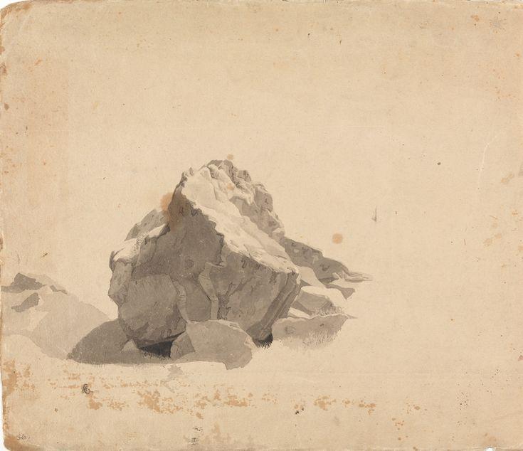 Hans Gude (antatt sikker), Studie av kampestein. Uten år