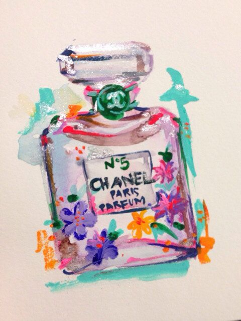 ORIGINAL Chanel Perfume No.5 Painting with Neon Flowers - Chanel Art, Fashion Art, Fashion Watercolor, Fashion Illustration on Etsy, $35.00