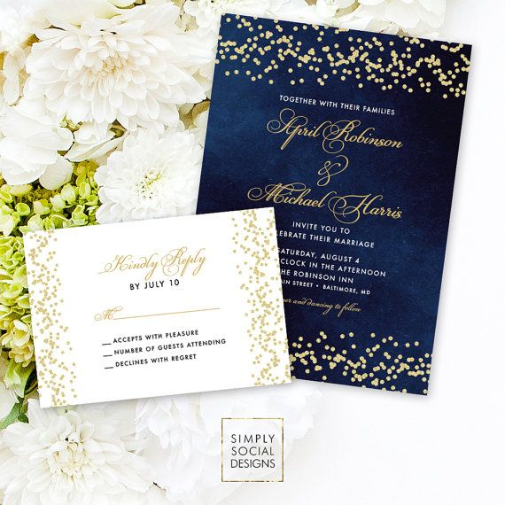 Navy Wedding Invitation Suite  Faux Gold by SimplySocialDesigns