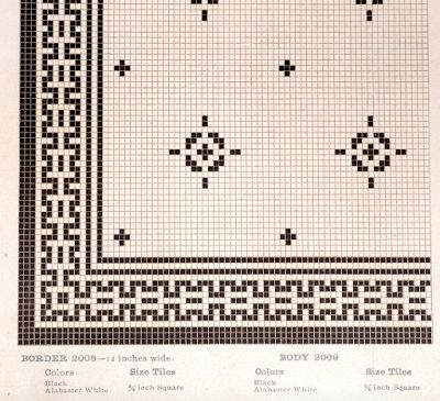 Early 1900s mosaic floor tile pattern from American Encaustic tile catalog.