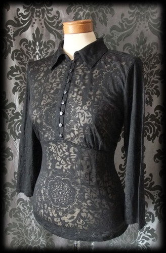 Gothic Black Damask Pattern VICTORIAN GOVERNESS Fitted Blouse 10 12 Steampunk - £24.00