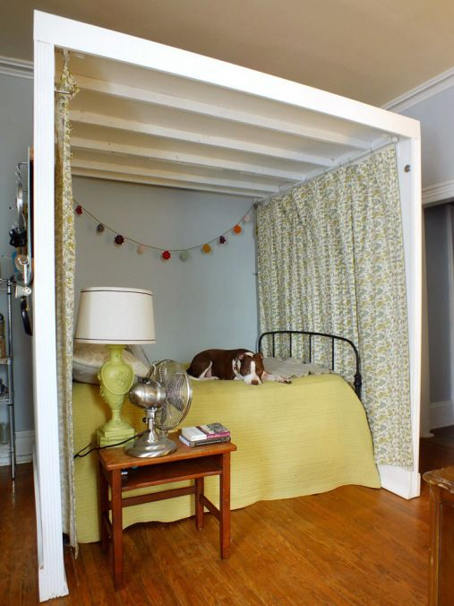 Genius Bit Of DIY Creates A Freestanding Bed Nook Inside This Rented Studio Apartment