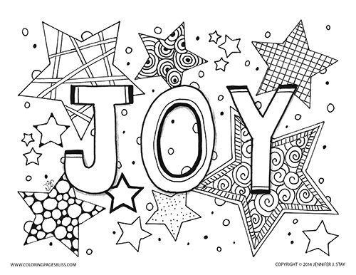 joy coloring page for adults and grown ups holiday printable coloring pages for decorating and - February Coloring Sheets