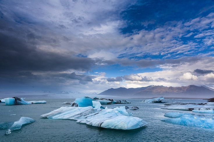 Iceland, Ice, Glaciers, Lake, Water, Sky, Clouds