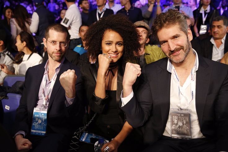 Game of Thrones: Dan Weiss, Nathalie Emmanuel and David Benioff (photo via Game of Thrones Twitter)