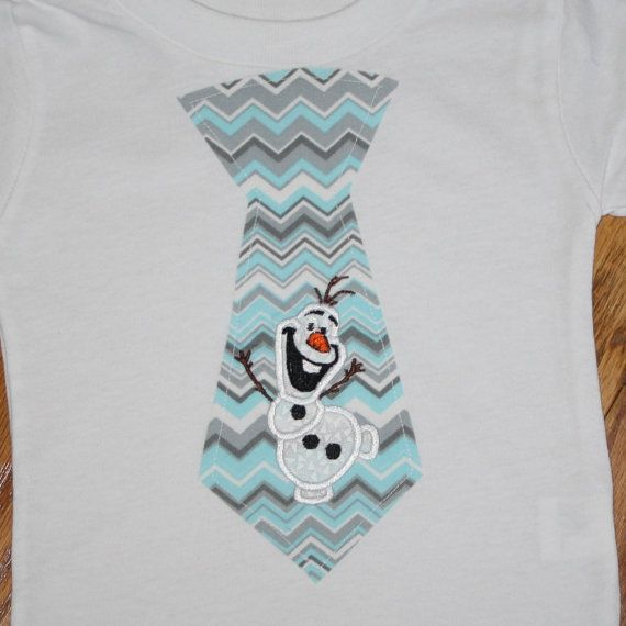 frozen inspired boys tie t shirt with Olaf snowman applique  a cute frozen themed outfit  matching sister pillowcase dress available    white t