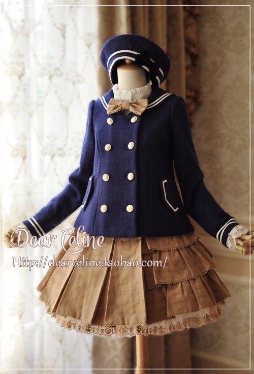 dear_celine_sailor_collar_short_coat_2.jpg (500×736)