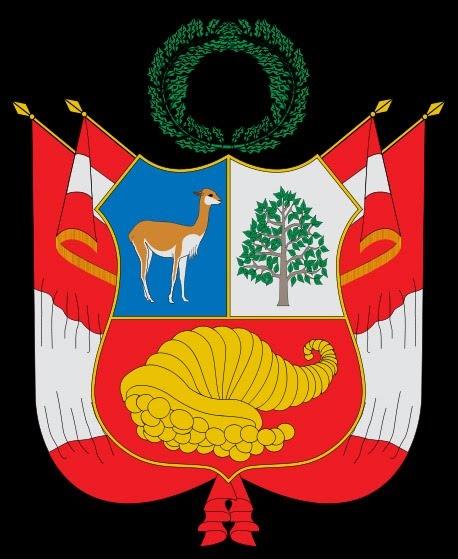 El Perú (en quechua y en aimara: Piruw)  El escudo peruano es de forma polaca (piel de toro), cortado (horizontalmente por la mitad) y semipartido (por la mitad verticalmente hasta el centro) la parte superior, mostrando tres campos.