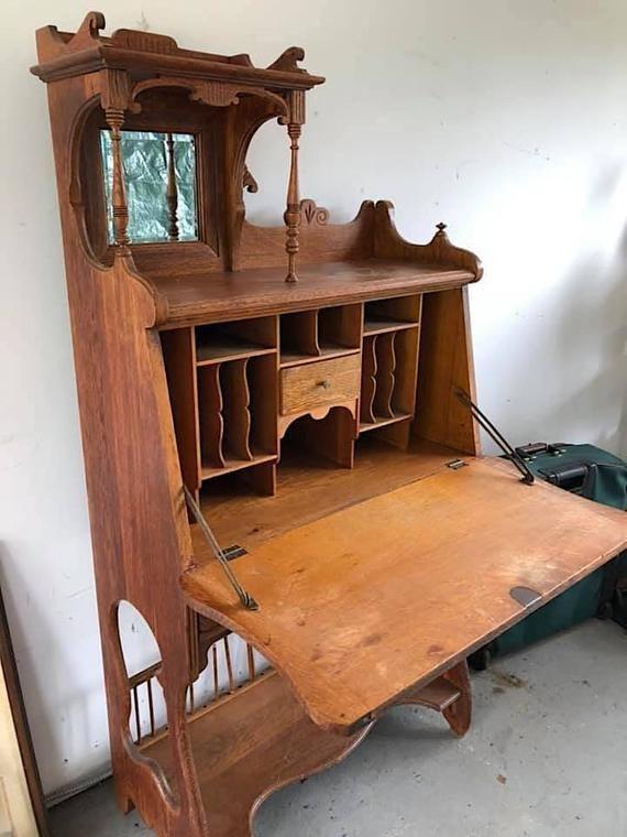 Pin On Secretary Desks Hutches, Antique Desk Hutch