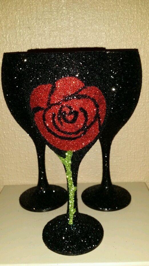 Personalised VALENTINE glitter wine glass PLEASE READ DESCRIPTION | eBay
