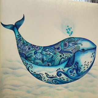 lost ocean whale finished coloring page by johanna basford