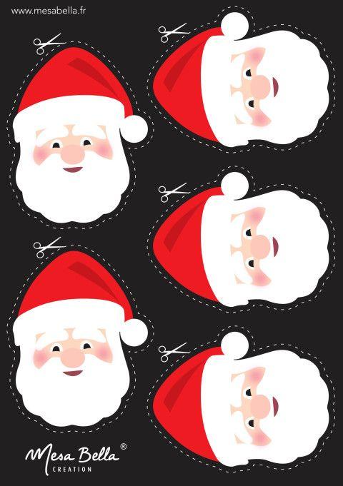 Pour votre table de Noël - Personnalisez votre serviette Père Noël - Têtes à télécharger - Mesa Bella Blog