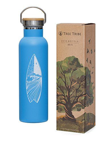 Tree Tribe Stainless Steel Blue Water Bottle 20 oz - Surf Day and Night - Indestructible, BPA Free, 100% Leak Proof, Double Wall Insulated for Hot and Cold, Wide Mouth #Tree #Tribe #Stainless #Steel #Blue #Water #Bottle #Surf #Night #Indestructible, #Free, #Leak #Proof, #Double #Wall #Insulated #Cold, #Wide #Mouth