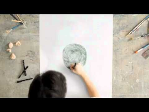 he draws in a spiral, never lifting his pen. so. cool.
