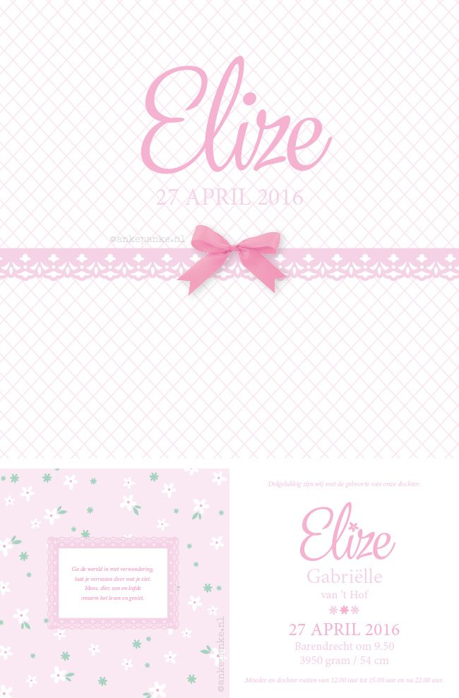 Simple pink with a bow birth announcement for Wivine & Sebastiaan by http://ankepanke.nl