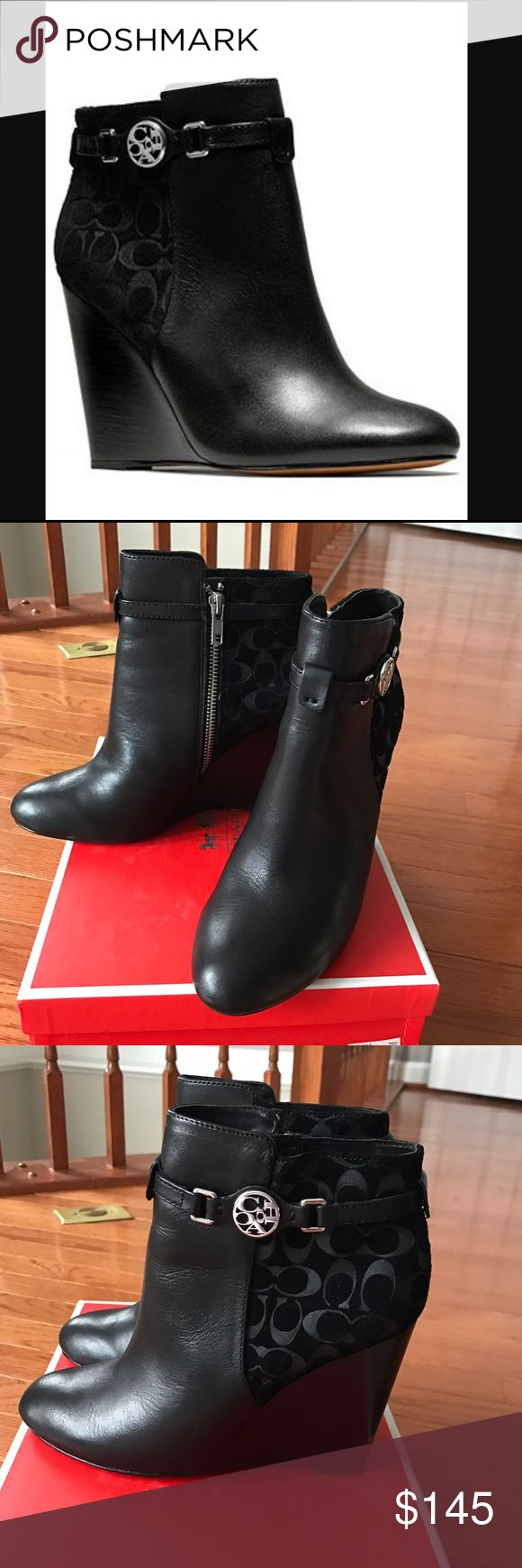 Coach Safira Leather/Suede Wedge Booties Black 7 They're worn only once. They're in excellent condition. Size 7 Coach Shoes Ankle Boots & Booties