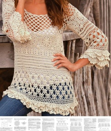Crochet pullover PATTERN, boho tunic pattern, boho ruffle sweater pattern. - favoritepatterns.com