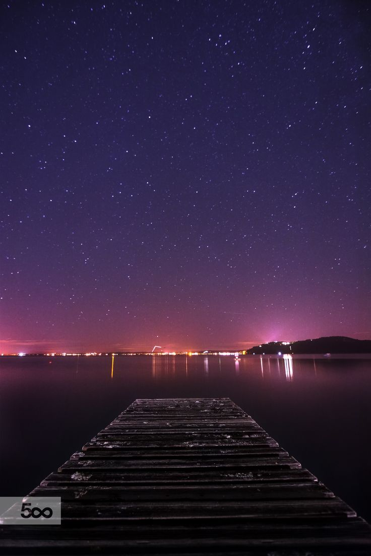 Lake Balaton long exposure, #balaton #hungary #lake #long #exposure #night #peer #shore #stars #vertical