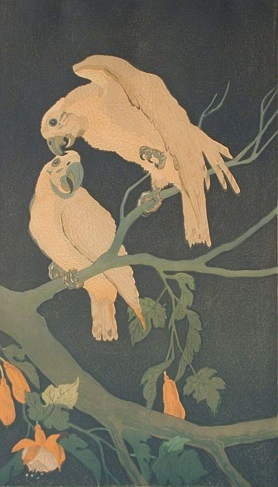 "✨ Laszenko Aleksander (1883 - 1944) - Papugi, 1937 r., drzeworyt barwny/papier, 44 x 25,5 cm , sygnowany ołówkiem l. d.: ""A.Laszenko"", p. d.: ""drzeworyt 1937 r."" ::: Parrots, Colour woodcut"