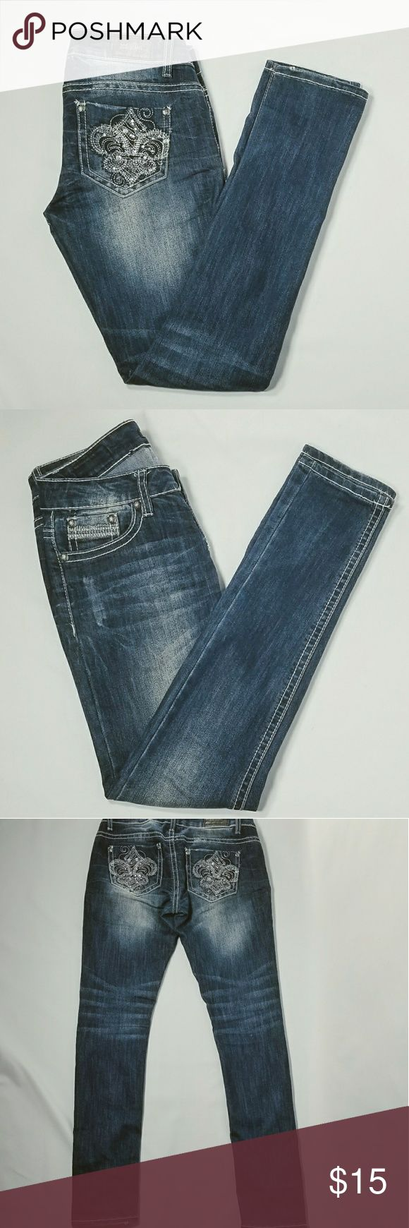 """ZCO Skinny Jeans - Size 5 Juniors ZCO skinny jeans. Dark wash, no gems missing. Juniors size 5 Waist - 15"""" Front rise - 8"""" Inseam - 31"""" (Flat lay) ZCO Jeans Skinny"""