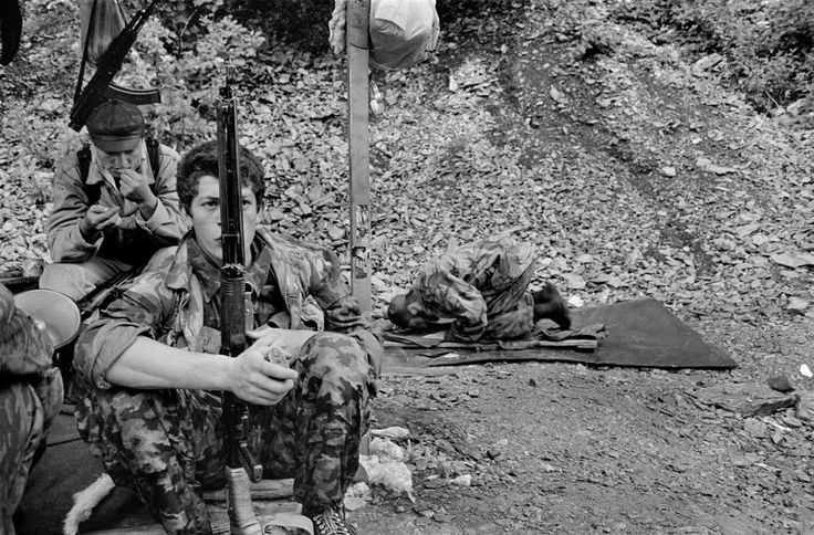Chechen fighters in the Mountains. Chechnya under the Russian occupation. 4/7/1996.