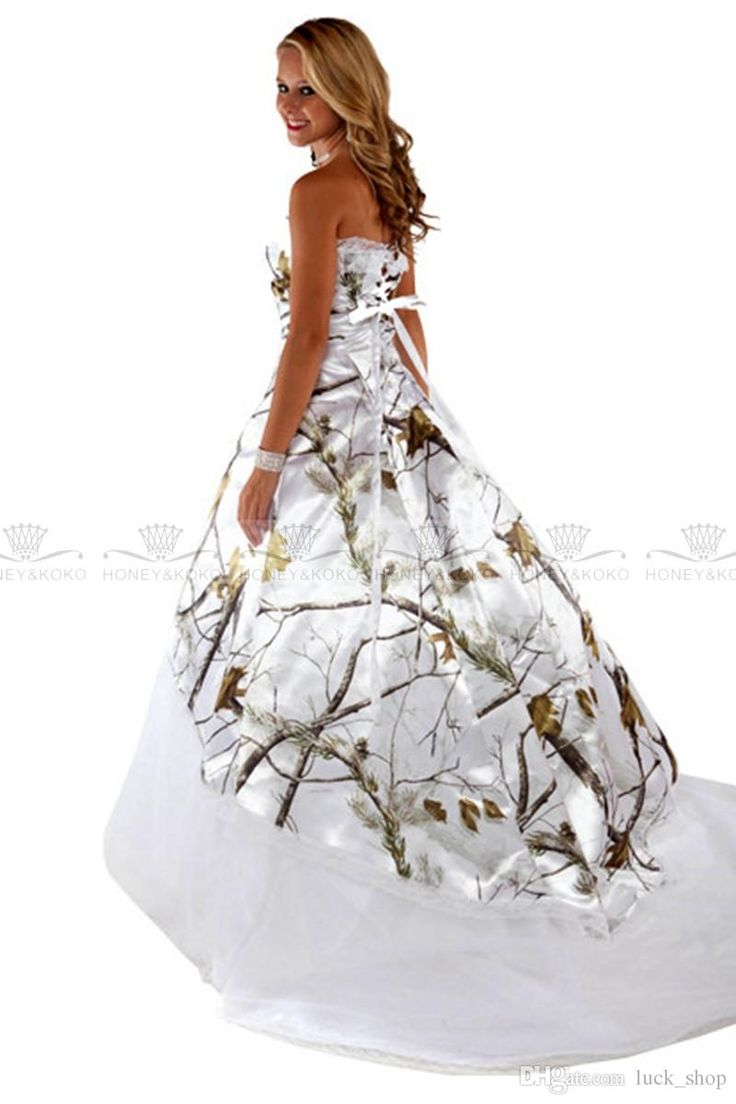 realtree wedding invitations%0A Wholesale      white satin long Ball Gown Wedding Dresses Camo Wedding  Dresses strapless print flower court