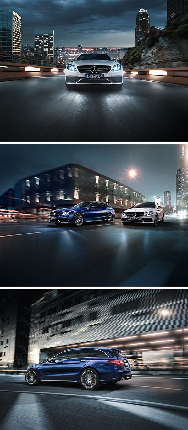 The Mercedes-AMG C 36 S and C 63 S Estate: The high-tech drive guarantees an utterly unique driving experience.  [Mercedes-AMG C 63 S | combined fuel consumption: 8.9 l/100km | combined CO₂ emissions: 208 g/km | http://mb4.me/efficiency_statement] [Mercedes-AMG C 63 S Estate | combined fuel consumption: 8.6-8.4 l/100km | combined CO₂ emissions: 200-196 g/km | http://mb4.me/efficiency_statement]