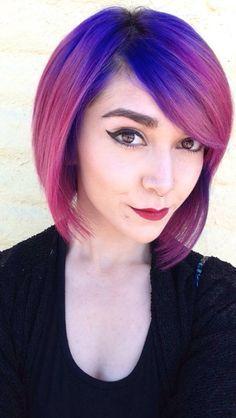 Pastel pink roots and purple ends. Ombré. Short hair. Pixie cut ...