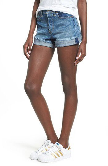 Levi's® Levi's® Wedgie High Waist Denim Shorts (Blue Cheer) available at #Nordstrom