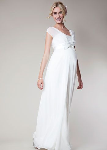 Vestido novia premamá sencillo.Lily Silk Maternity Gown Long (Ivory) - Maternity Wedding Dresses, Evening Wear and Party Clothes by Tiffany Rose