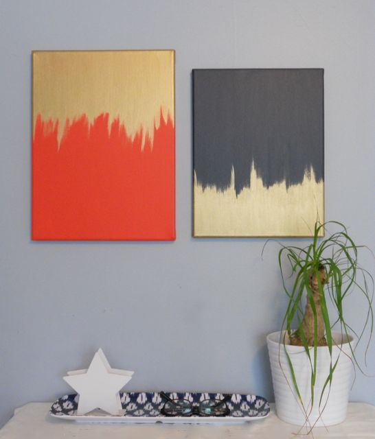 diptych in navy, orange, gold