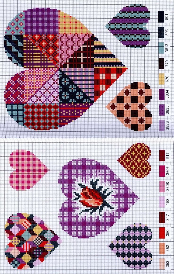 Cross-stitch Patchwork Hearts