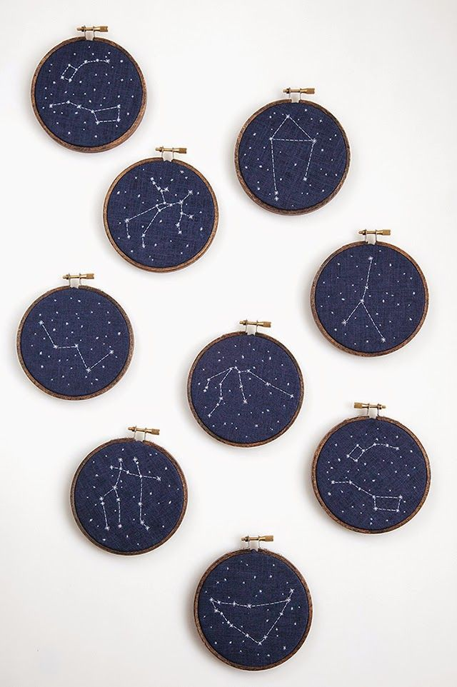 Miniature Rhino: recent work - constellation embroidery.