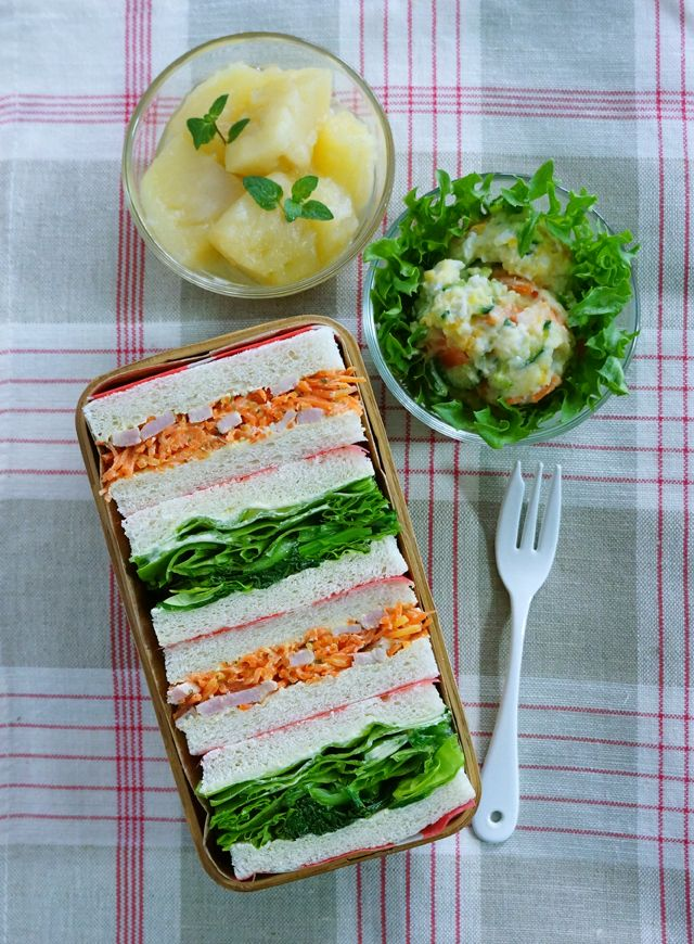 Vegetable Sandwich Bento Lunch 野菜サンドイッチのお弁当