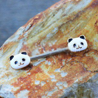 316L Stainless Steel Golden Panda Nipple Bar