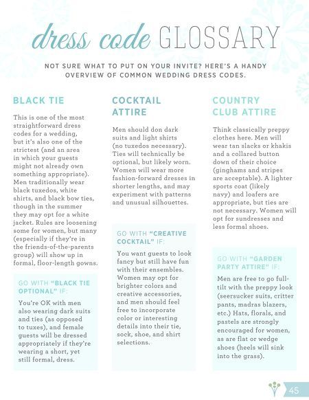 What does Black Tie mean, or Cocktail Attire...? We have the answers!