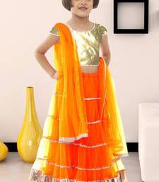 Buy Orange plain soft net kids lehenga choli kids-lehenga-choli online