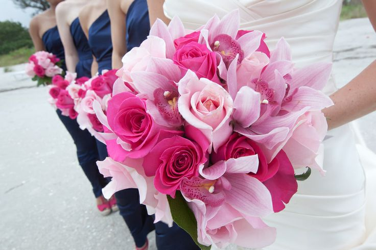 pretty in pink bridal bouquet of orchids & roses