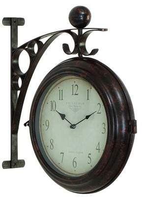 Benzara Metal Wall 2 Side Clock Designed With Antique Look Timepieces In 2019 Metal Walls Metal Clock Best Wall Clocks