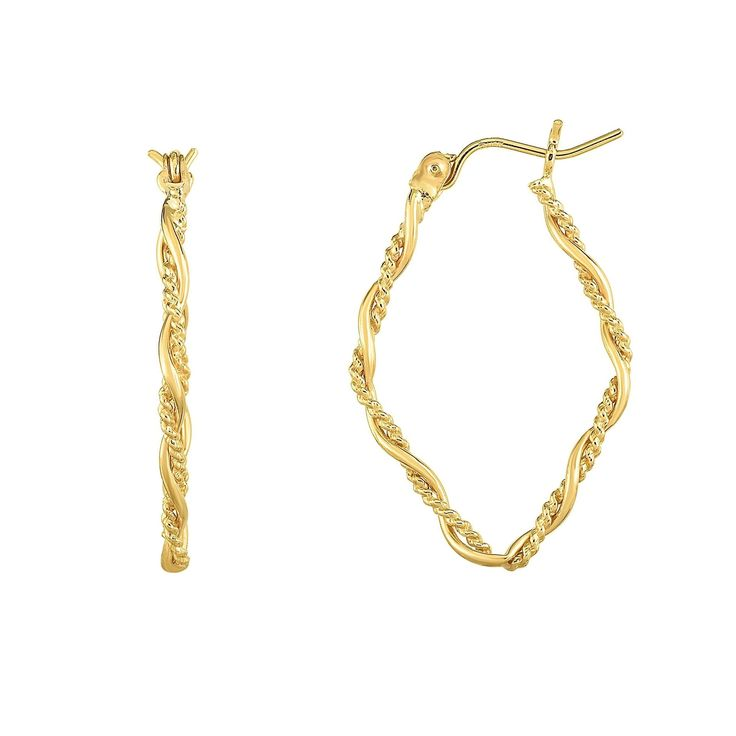 Karat Rushs 14kt Gold Tube Hoop Fancy Earrings, Women's Earring dimensions: 30 mm high x 20 mm wide x 2 mm deep This product will ship to you in one 1 box - Earring dimensions: 30 mm high x 20 mm wide x 2 mm deep This product will ship to you in one