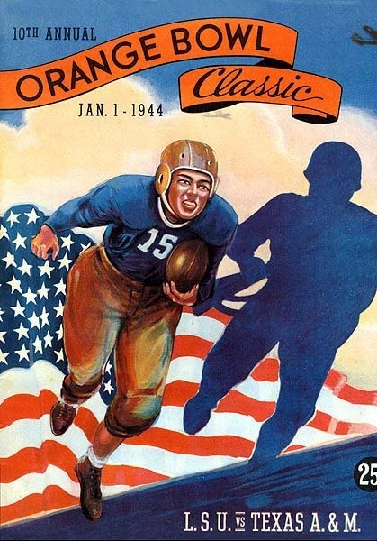 1944 Orange Bowl Game Program between LSU Tigers v Texas A & M Aggies
