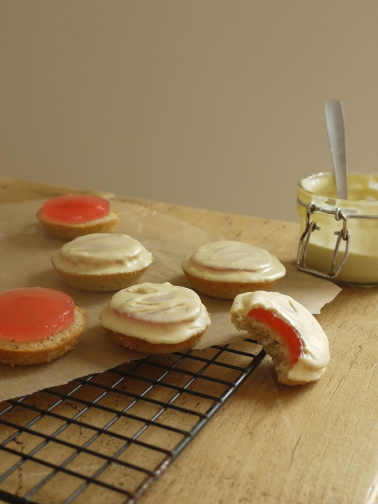 Recipe for Rhubarb & White Chocolate Jaffa Cakes adapted from Kate Doran's cookbook, Homemade Memories