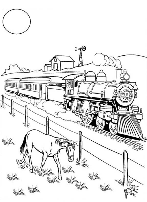 A Horse Eating Beside Railroad Coloring Page Color Luna In 2021 Train Coloring Pages Coloring Pages Valentines Day Coloring Page