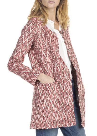 Manteau mi-long à motifs ethniques Rouge by LA FEE MARABOUTEE