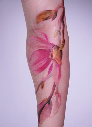 flower tattoo: Flowers Tattoo, Patterns Tattoo, Amanda Wachob, Watercolortattoo, Colors Tattoo, Watercolor Tattoo, Tattoo Artists, Tattoo Ink, Floral Tattoo