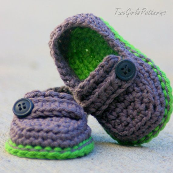 Crochet Patterns Baby Boy : Baby Boy Booties CROCHET PATTERN for Easy On Loafers ...
